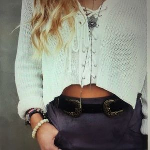 Sweaters - Black Lace up Crop Top Sweater